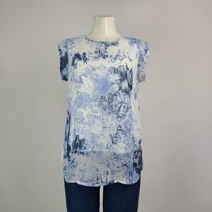Cleo Blue Flower Top Size S